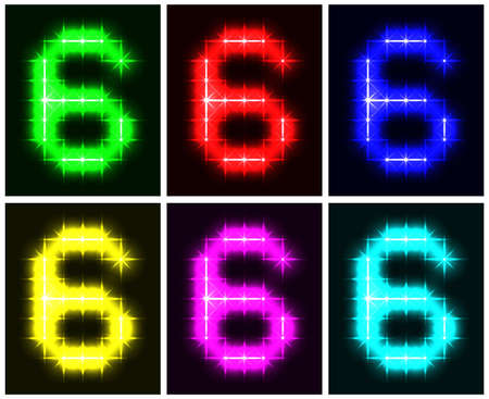 Motley set a glowing symbol of the number 6 on black background for your design.  illustration.  illustration