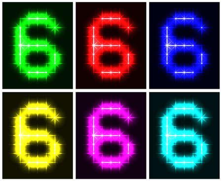 Motley set a glowing symbol of the number 6 on black background for your design.  illustration.  illustration