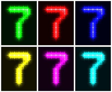 Motley set a glowing symbol of the number 7 on black background for your design.   illustration.  illustration