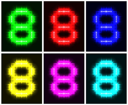 Motley set a glowing symbol of the number 8 on black background for your design.   illustration.   illustration