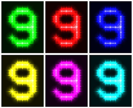 Motley set a glowing symbol of the number 9 on black background for your design.  illustration  illustration