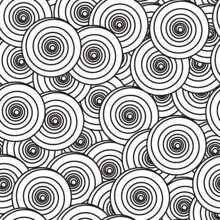 Black-and-white abstract background with spiral circles. Seamless pattern.  illustration.