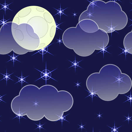 Abstract night sky background with clouds, moon and stars. Seamless pattern. illustration.  Vector