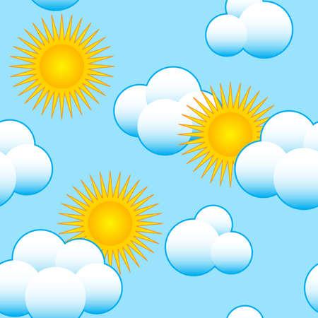 雲とオレンジ色の太陽と抽象的な青い空を背景。シームレスなパターン。イラスト。