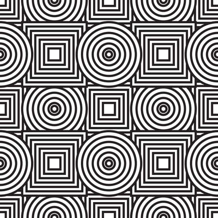 seams: Black-and-white abstract background with circles and squares. Seamless pattern.  illustration.