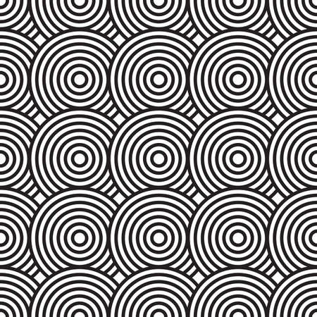 Black-and-white abstract background with circles. Seamless pattern.  illustration. Ilustracja