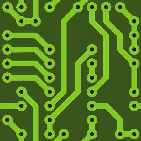 Fondo verde abstracto con Director de orquesta en la placa base del ordenador.   ilustración. Patrón sin problemas.