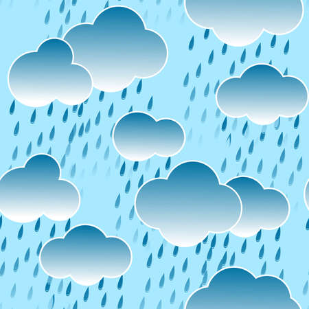Abstract dark sky background with clouds and rain drops. Seamless pattern.  illustration. Vector