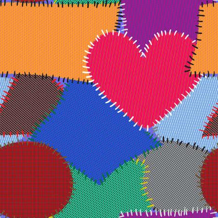 motley: Sfondo astratto con patch motley tessile. Modello di perfetta per il vostro disegno. Illustrazione vettoriale.
