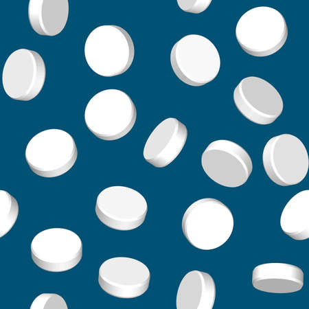blue pills: Abstract dark blue background with three dimensional white pills. Seamless pattern for your design. Vector illustration.