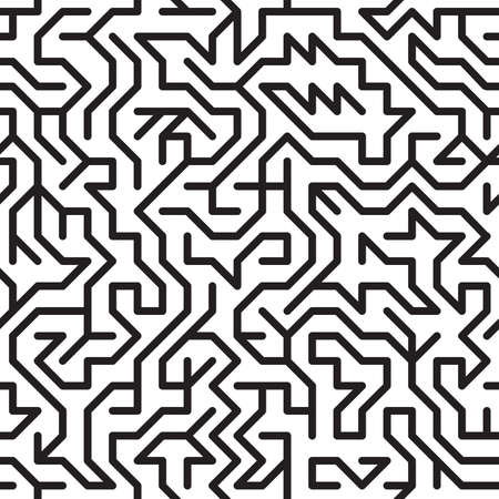 complication: Black-and-white abstract background with complex maze. Seamless pattern for your design. Vector illustration.
