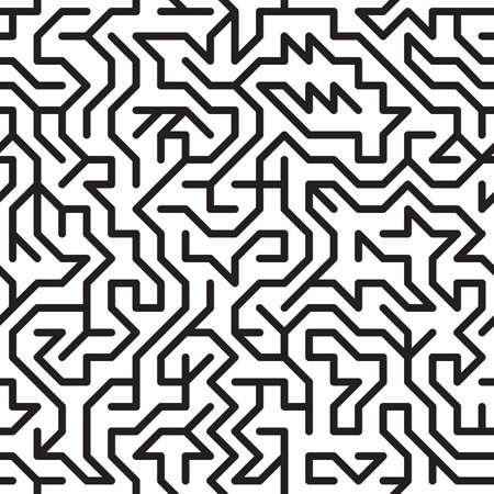 complicación: Fondo abstracto en blanco y negro con un complejo laberinto. Patr�n transparente para su dise�o. Ilustraci�n vectorial.
