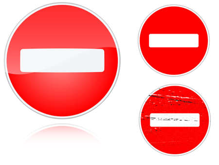 Set of variants no entry road sign isolated on white background. Group of as fish-eye, simple and grunge icons for your design. Vector illustration. Vector