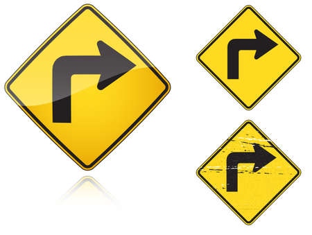 fisheye: Set of variants Right Sharp turn traffic road sign isolated on white background. Group of as fish-eye, simple and grunge icons for your design. Vector illustration.