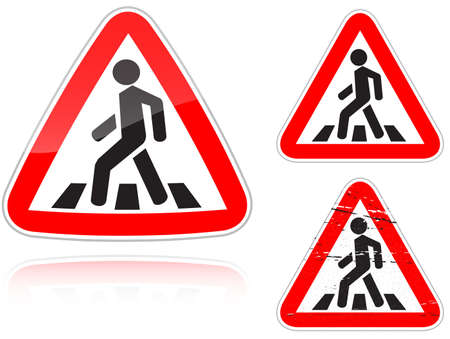 Instellen van varianten een naderend ongereglementeerde voetgangersoversteekplaats road sign geïsoleerd op een witte achtergrond. Groep als fish-eye, eenvoudige en grunge pictogrammen voor uw ontwerp. Vectorillustratie.