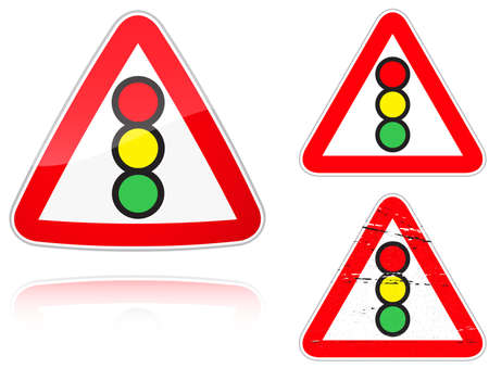 Set of variants a Traffic light control road sign isolated on white background. Group of as fish-eye, simple and grunge icons for your design. Vector illustration. Vector