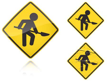 hombre sucio: Conjunto de variantes de un obras en la carretera - signo de carretera aislado sobre fondo blanco. Grupo de como iconos de ojo de pez, simple y grunge para su dise�o. Ilustraci�n vectorial.