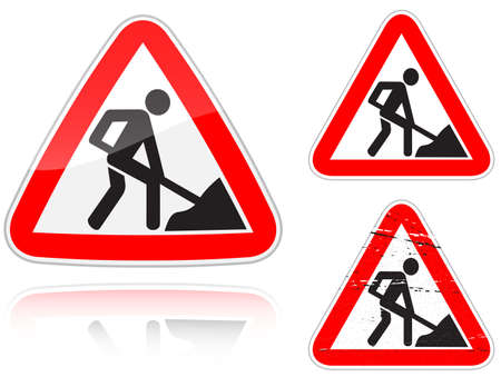 road work: Set of variants a Works on the road - road sign isolated on white background. Group of as fish-eye, simple and grunge icons for your design. Vector illustration.