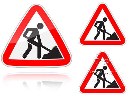 Set van varianten een Works on the road - road sign geïsoleerd op een witte achtergrond. Groep als fish-eye, eenvoudige en grunge pictogrammen voor uw ontwerp. Vector illustratie. Vector Illustratie