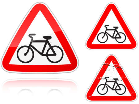 Set of variants a Intersection with the bike road - road sign isolated on white background. Group of as fish-eye, simple and grunge icons for your design. Vector illustration. Vector