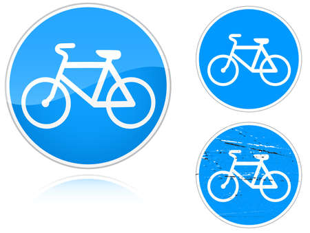 road ring: Set of variants a Bicycle path - road sign isolated on white background. Group of as fish-eye, simple and grunge icons for your design. Vector illustration.