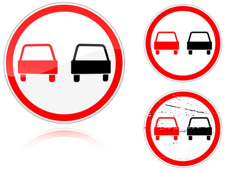 passing the road: Set of variants a No passing - road sign isolated on white background. Group of as fish-eye, simple and grunge icons for your design. Vector illustration. Illustration