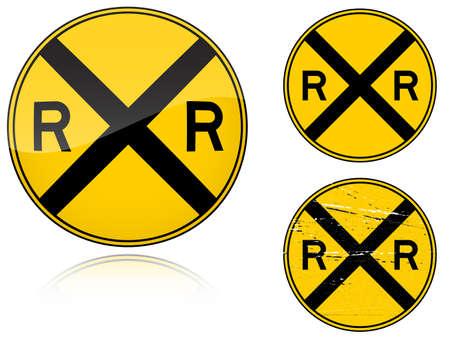 Conjunto de variantes de una paso a nivel de advertencia - carretera firmar aislado sobre fondo blanco. Grupo de como iconos de ojo de pez, simple y grunge para su diseño. Ilustración vectorial.