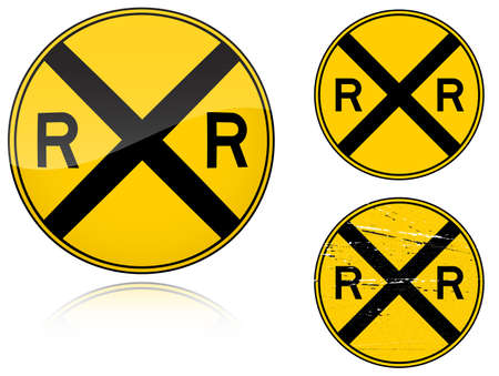 Set of variants a Level crossing warning - road sign isolated on white background. Group of as fish-eye, simple and grunge icons for your design. Vector illustration. Ilustracja