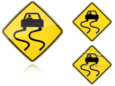 Set of variants a Slippery when wet - road sign isolated on white background. Group of as fish-eye, simple and grunge icons for your design. Vector illustration. Vector