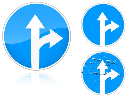 ring road: Set of variants a Straight and right ahead - road sign isolated on white background. Group of as fish-eye, simple and grunge icons for your design. Vector illustration. Illustration