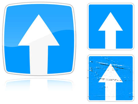 Set of variants a Road with one-way traffic - road sign isolated on white background. Group of as fish-eye, simple and grunge icons for your design. Vector illustration. Vector