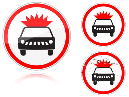 fisheye: Set of variants a Transportation of explosives and flammable substances is forbidden - road sign isolated on white background. Group of as fish-eye, simple and grunge icons for your design. Vector illustration.