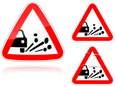 Set of variants a Blowout of gravel - road sign isolated on white background. Group of as fish-eye, simple and grunge icons for your design. Vector illustration. Stock Vector - 8845740