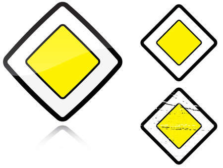 main group: Set of variants a Main road - road sign isolated on white background. Group of as fish-eye, simple and grunge icons for your design. Vector illustration.