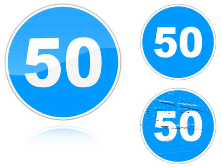 Set of variants a Minimum speed limit - road sign isolated on white background. Group of as fish-eye, simple and grunge icons for your design. Vector illustration. Vector