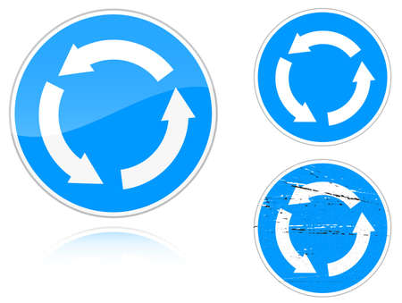 road ring: Set of variants a Circular motion - road sign isolated on white background. Group of as fish-eye, simple and grunge icons for your design. Vector illustration. Illustration