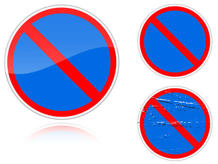 fisheye: Set of variants a No parking - road sign isolated on white background. Group of as fish-eye, simple and grunge icons for your design. Vector illustration.