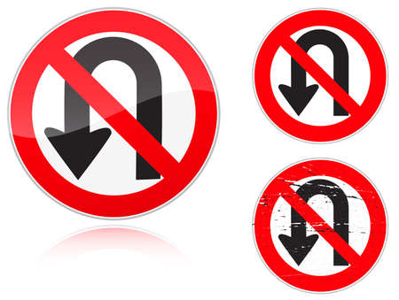 road ring: Set of variants a U-Turn forbidden - road sign isolated on white background. Group of as fish-eye, simple and grunge icons for your design. Vector illustration.