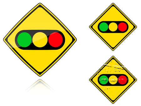 Set of variants a Traffic lights - road sign isolated on white background. Group of as fish-eye, simple and grunge icons for your design. Vector illustration. Vector