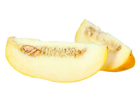 honeydew: Two slice of ripe yellow melon. Close-up. Isolated on white background. Studio photography.