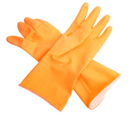 latex gloves: Two orange rubber gloves. Close-up