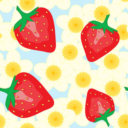 frame less: Abstract background with red strawberry and flowers. Seamless pattern. Vector illustration.