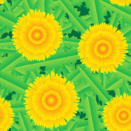 Abstract background of green grass and yellow flowers. Seamless pattern. Vector illustration. Vector