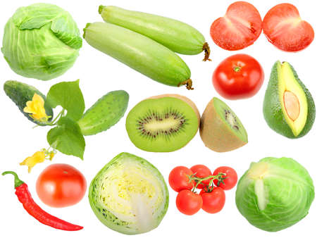 Set of fresh fruits and vegetables. Isolated on white background. Close-up. Studio photography. photo