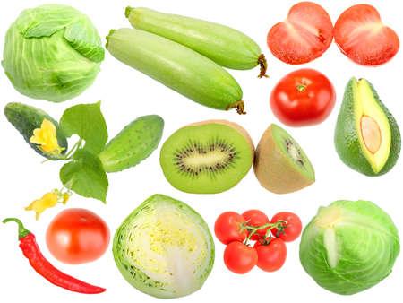 Set of fresh fruits and vegetables. Isolated on white background. Close-up. Studio photography. Stock Photo - 12376444