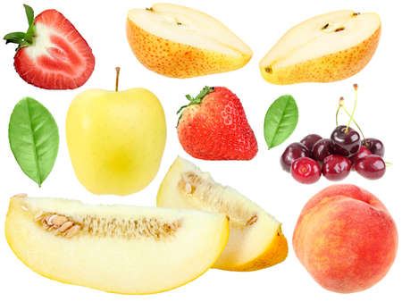 Set of fresh fruits and berryes. Isolated on white background. Close-up. Studio photography. photo