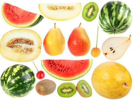 berryes: Set of fresh fruits and berryes. Isolated on white background. Close-up. Studio photography.