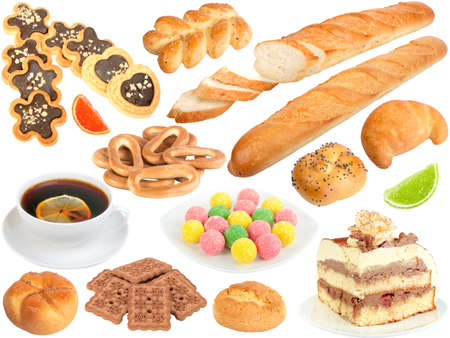 Set of fresh bread and sweets. Isolated on white background. Close-up. Studio photography. Stock Photo - 12376483