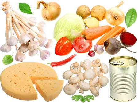 Set of fresh vegetables and other food. Isolated on white background. Close-up. Studio photography. Stock Photo - 12376481