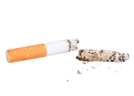 Single cigarette butt with ash. Close-up. Isolated on white background. Studio photography. photo